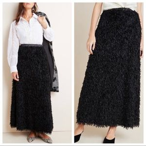 Anthropologie Chantal Feathered Maxi Skirt XS